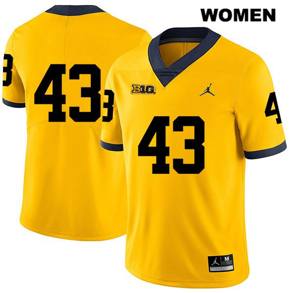 Womens Stitched no. 43 Michigan Wolverines Legend Yellow Jake McCurry Jordan Authentic College Football Jersey - No Name - Jake McCurry Jersey