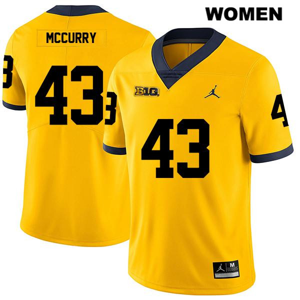 Jordan Womens Stitched no. 43 Michigan Wolverines Yellow Jake McCurry Legend Authentic College Football Jersey - Jake McCurry Jersey