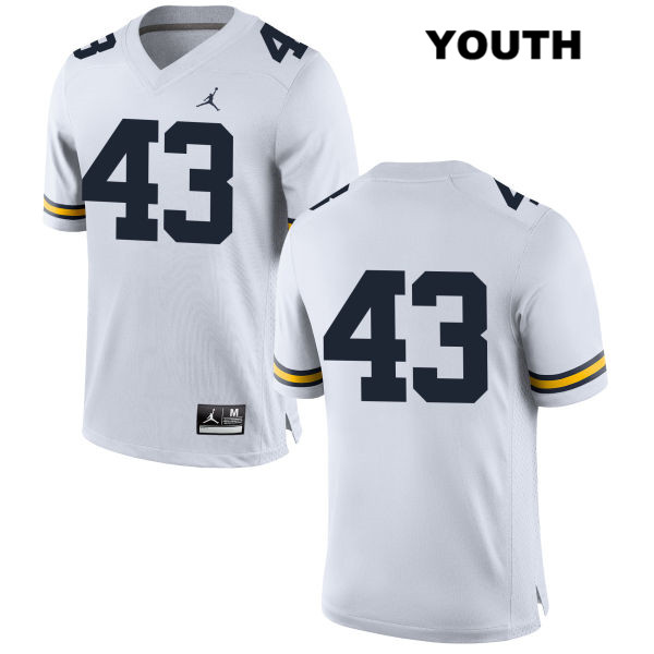 Youth no. 43 Stitched Jordan Michigan Wolverines White Jake McCurry Authentic College Football Jersey - No Name - Jake McCurry Jersey