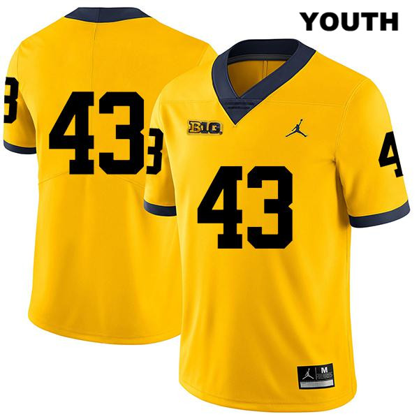 Youth no. 43 Michigan Wolverines Jordan Yellow Legend Jake McCurry Stitched Authentic College Football Jersey - No Name - Jake McCurry Jersey