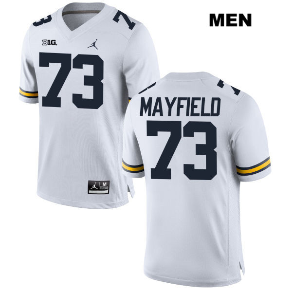 Mens Jordan Stitched no. 73 Michigan Wolverines White Jalen Mayfield Authentic College Football Jersey - Jalen Mayfield Jersey