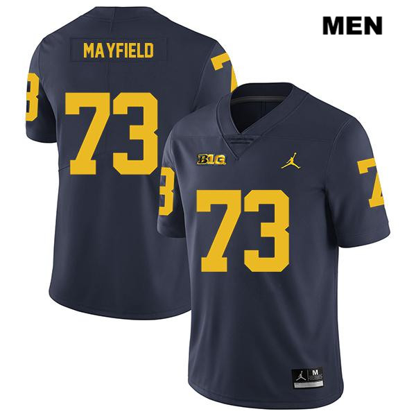 Mens no. 73 Legend Michigan Wolverines Navy Jordan Stitched Jalen Mayfield Authentic College Football Jersey - Jalen Mayfield Jersey