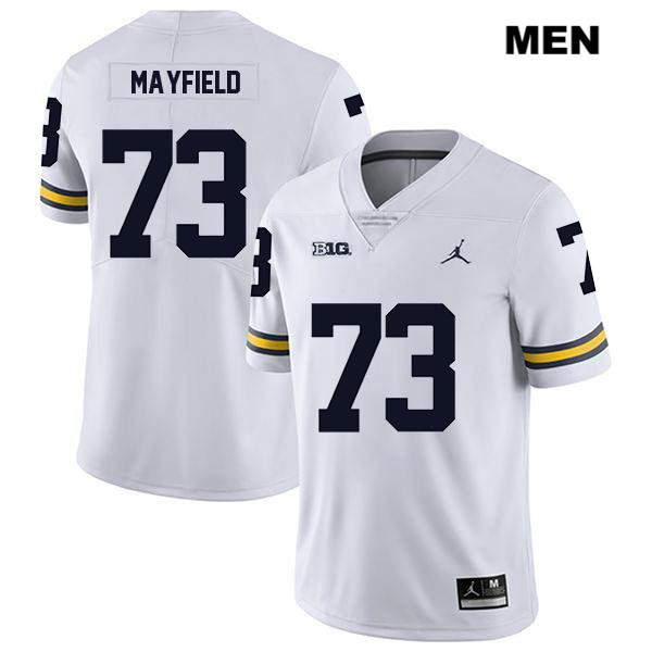 Mens no. 73 Jordan Michigan Wolverines White Legend Jalen Mayfield Stitched Authentic College Football Jersey - Jalen Mayfield Jersey