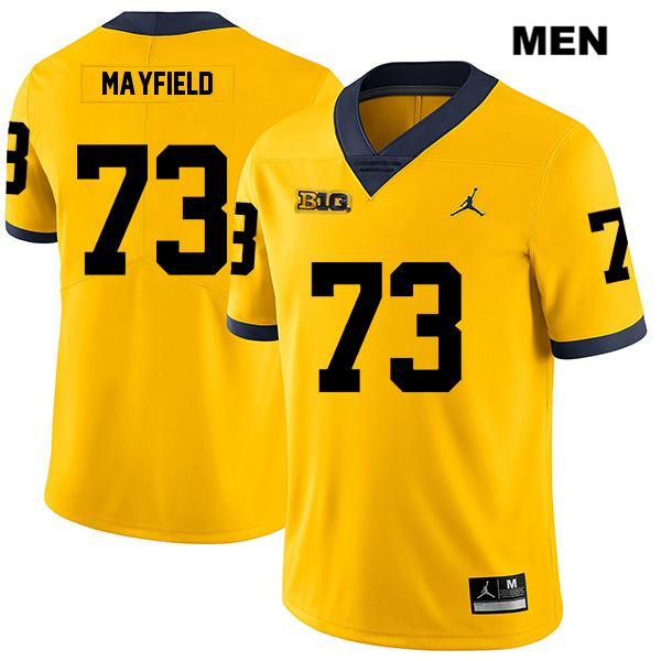 Mens no. 73 Stitched Michigan Wolverines Yellow Jordan Jalen Mayfield Legend Authentic College Football Jersey - Jalen Mayfield Jersey