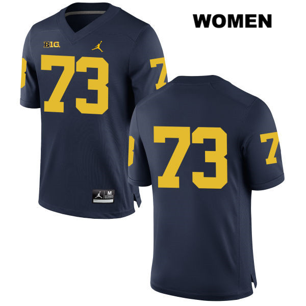 Womens no. 73 Stitched Michigan Wolverines Jordan Navy Jalen Mayfield Authentic College Football Jersey - No Name - Jalen Mayfield Jersey