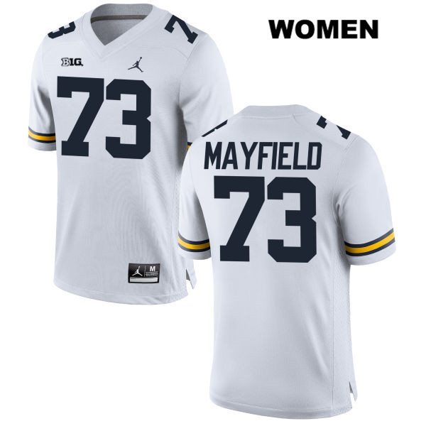 Womens no. 73 Jordan Michigan Wolverines White Stitched Jalen Mayfield Authentic College Football Jersey - Jalen Mayfield Jersey