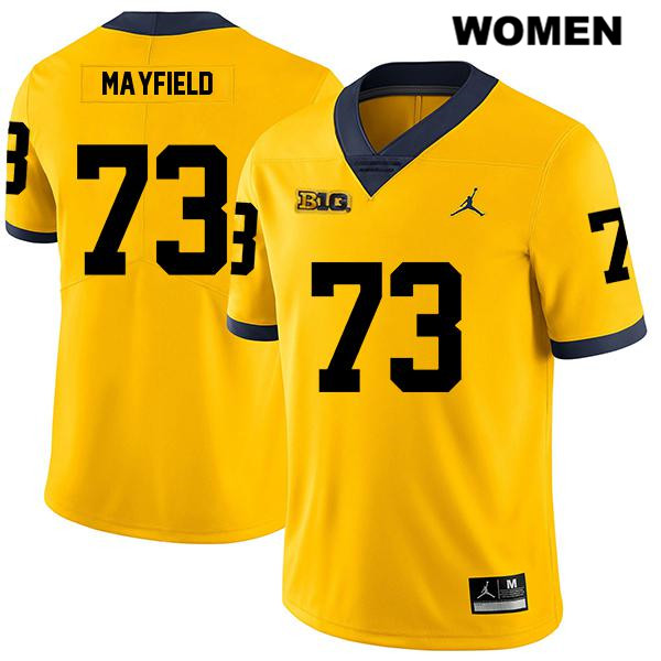Jordan Womens Stitched no. 73 Michigan Wolverines Legend Yellow Jalen Mayfield Authentic College Football Jersey