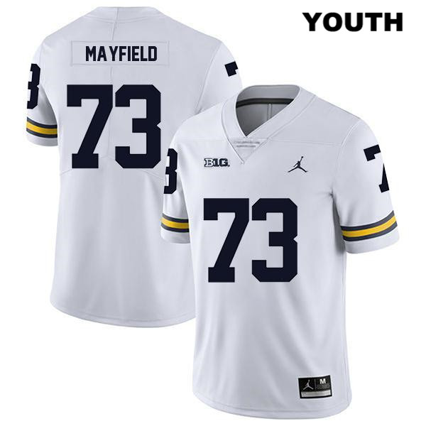Youth Jordan no. 73 Stitched Michigan Wolverines Legend White Jalen Mayfield Authentic College Football Jersey - Jalen Mayfield Jersey