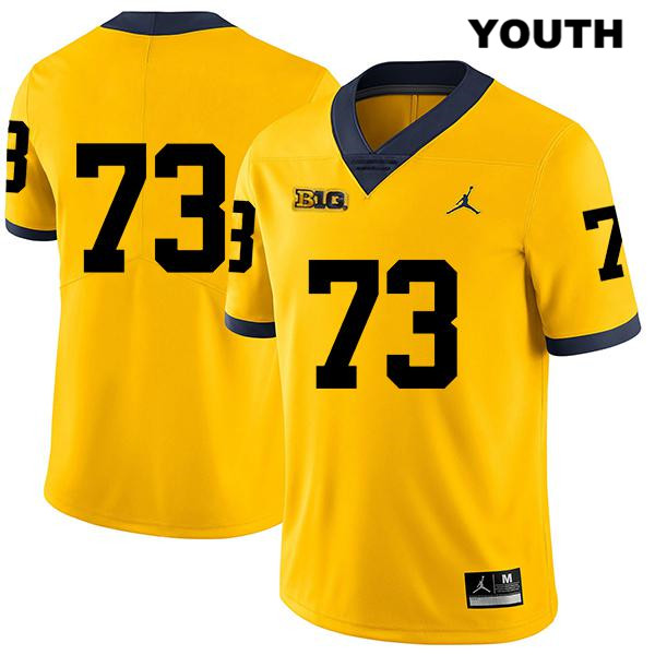 Stitched Youth no. 73 Michigan Wolverines Yellow Legend Jalen Mayfield Jordan Authentic College Football Jersey - No Name - Jalen Mayfield Jersey