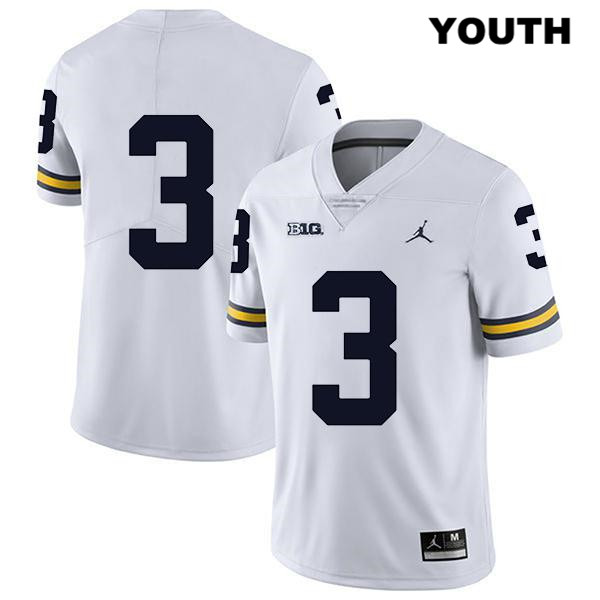 Youth Jordan no. 3 Legend Michigan Wolverines Stitched White Jalen Perry Authentic College Football Jersey - No Name - Jalen Perry Jersey