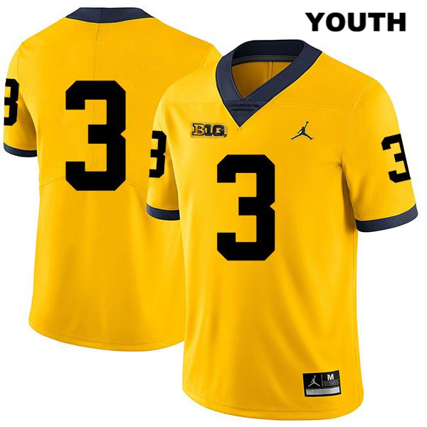 Stitched Youth Jordan no. 3 Legend Michigan Wolverines Yellow Jalen Perry Authentic College Football Jersey - No Name - Jalen Perry Jersey
