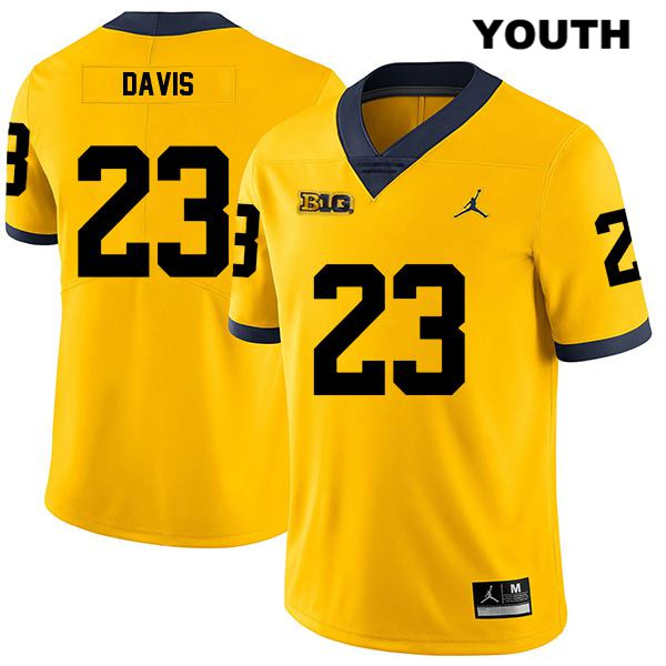 Jordan Youth Stitched no. 23 Michigan Wolverines Yellow Jared Davis Legend Authentic College Football Jersey