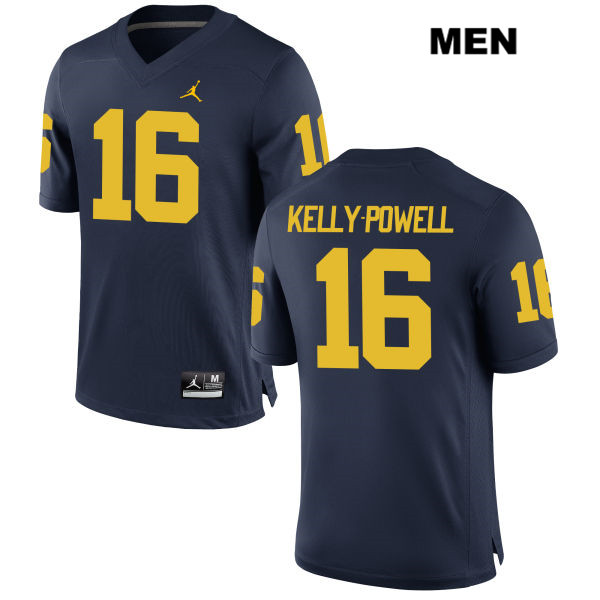 Mens no. 16 Jordan Michigan Wolverines Navy Stitched Jaylen Kelly-Powell Authentic College Football Jersey - Jaylen Kelly-Powell Jersey
