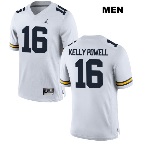 Mens Jordan no. 16 Michigan Wolverines Stitched White Jaylen Kelly-Powell Authentic College Football Jersey - Jaylen Kelly-Powell Jersey
