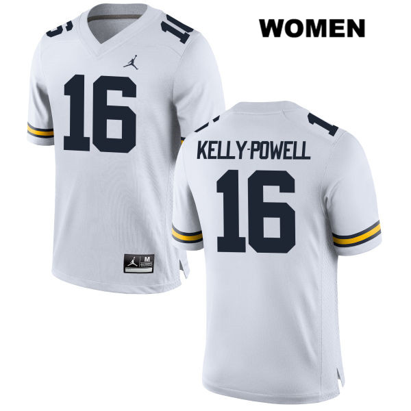 Womens no. 16 Stitched Michigan Wolverines White Jordan Jaylen Kelly-Powell Authentic College Football Jersey - Jaylen Kelly-Powell Jersey