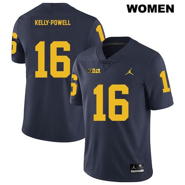 Womens no. 16 Legend Michigan Wolverines Jordan Navy Stitched Jaylen Kelly-Powell Authentic College Football Jersey - Jaylen Kelly-Powell Jersey
