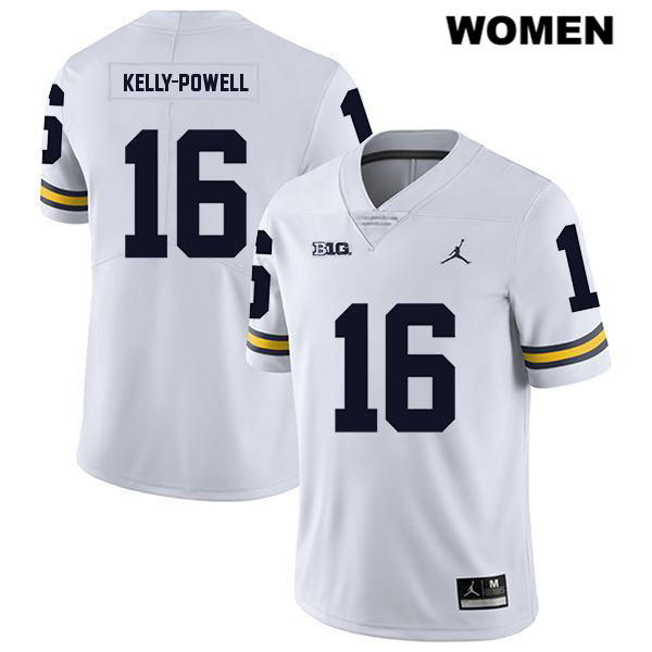 Jordan Womens no. 16 Stitched Michigan Wolverines White Jaylen Kelly-Powell Legend Authentic College Football Jersey - Jaylen Kelly-Powell Jersey