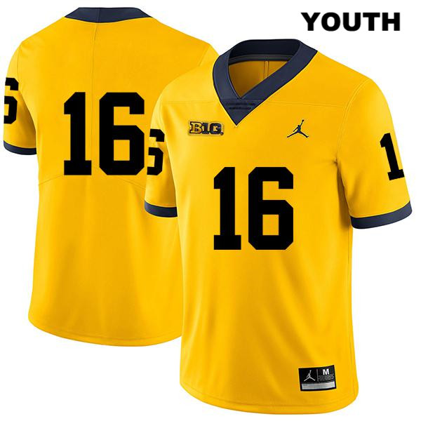 Youth Stitched no. 16 Jordan Michigan Wolverines Yellow Legend Jaylen Kelly-Powell Authentic College Football Jersey - No Name - Jaylen Kelly-Powell Jersey