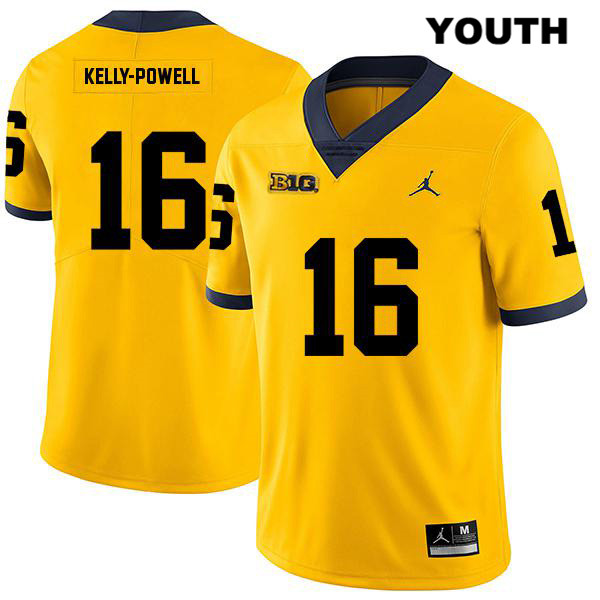 Legend Youth no. 16 Michigan Wolverines Stitched Yellow Jaylen Kelly-Powell Jordan Authentic College Football Jersey - Jaylen Kelly-Powell Jersey