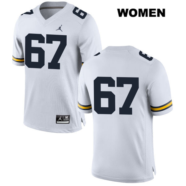 Womens Stitched no. 67 Jordan Michigan Wolverines White Jess Speight Authentic College Football Jersey - No Name - Jess Speight Jersey