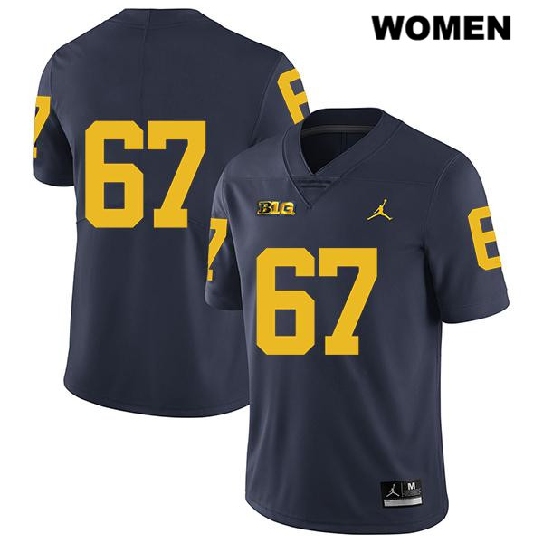 Womens no. 67 Legend Michigan Wolverines Jordan Navy Stitched Jess Speight Authentic College Football Jersey - No Name - Jess Speight Jersey