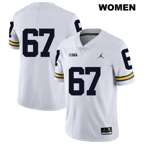 Legend Womens Stitched no. 67 Michigan Wolverines White Jess Speight Jordan Authentic College Football Jersey - No Name - Jess Speight Jersey
