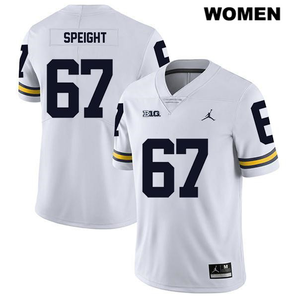 Womens no. 67 Jordan Legend Michigan Wolverines Stitched White Jess Speight Authentic College Football Jersey - Jess Speight Jersey