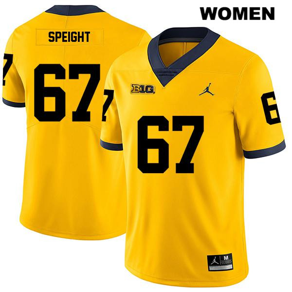 Womens Legend no. 67 Michigan Wolverines Yellow Stitched Jess Speight Jordan Authentic College Football Jersey - Jess Speight Jersey