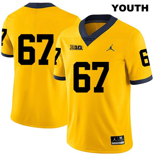 Youth no. 67 Michigan Wolverines Legend Yellow Jordan Jess Speight Stitched Authentic College Football Jersey - No Name