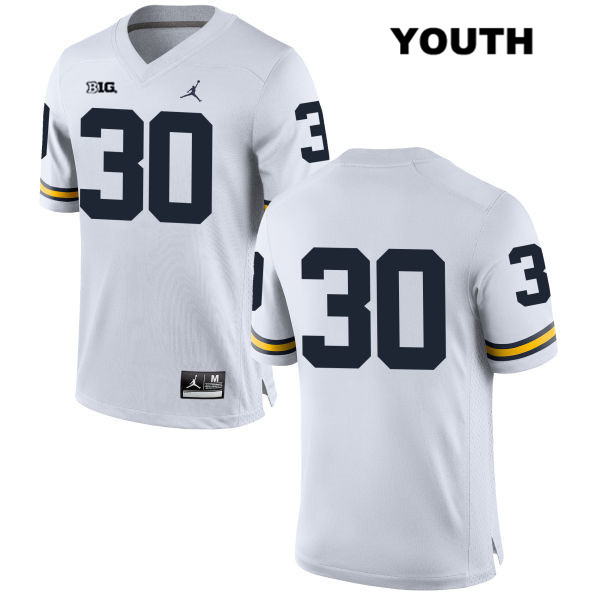 Youth Jordan Stitched no. 30 Michigan Wolverines White Joe Beneducci Authentic College Football Jersey - No Name - Joe Beneducci Jersey