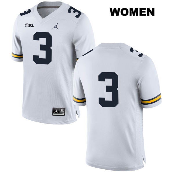 Womens no. 3 Michigan Wolverines White Jordan Stitched Joe Milton Authentic College Football Jersey - No Name - Joe Milton Jersey