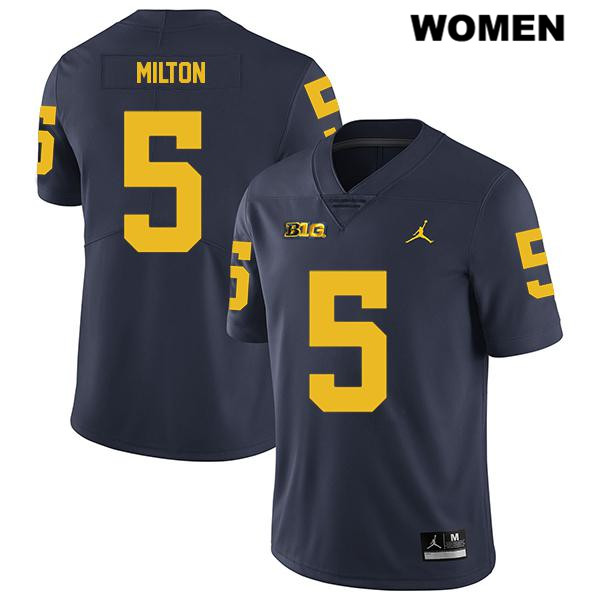 Womens Stitched no. 5 Legend Michigan Wolverines Jordan Navy Joe Milton Authentic College Football Jersey - Joe Milton Jersey