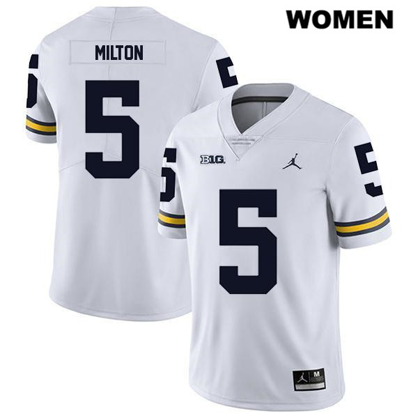 Womens no. 5 Jordan Michigan Wolverines White Stitched Joe Milton Legend Authentic College Football Jersey - Joe Milton Jersey