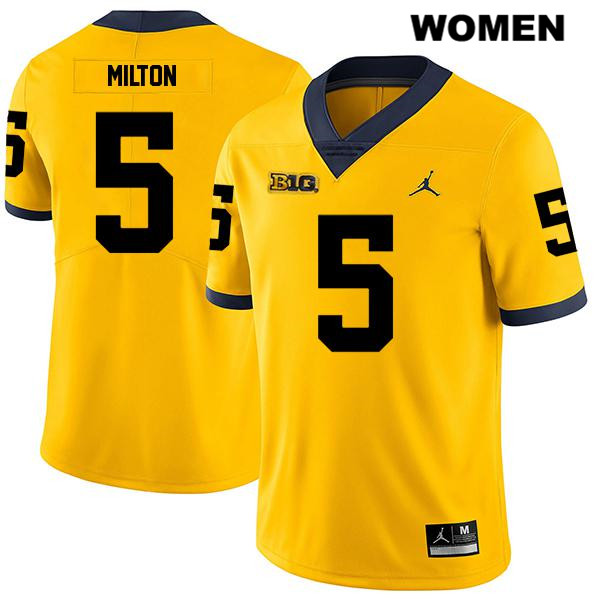 Stitched Womens no. 5 Michigan Wolverines Yellow Joe Milton Jordan Legend Authentic College Football Jersey - Joe Milton Jersey