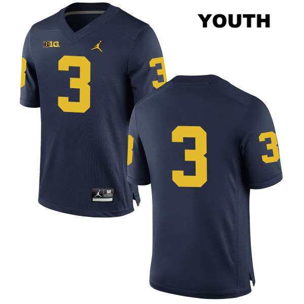 Youth Jordan no. 3 Stitched Michigan Wolverines Navy Joe Milton Authentic College Football Jersey - No Name - Joe Milton Jersey