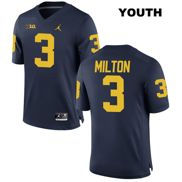 Stitched Youth no. 3 Michigan Wolverines Navy Joe Milton Jordan Authentic College Football Jersey - Joe Milton Jersey