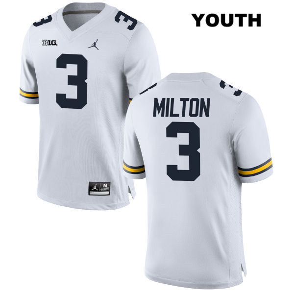 Youth no. 3 Michigan Wolverines White Stitched Joe Milton Jordan Authentic College Football Jersey - Joe Milton Jersey