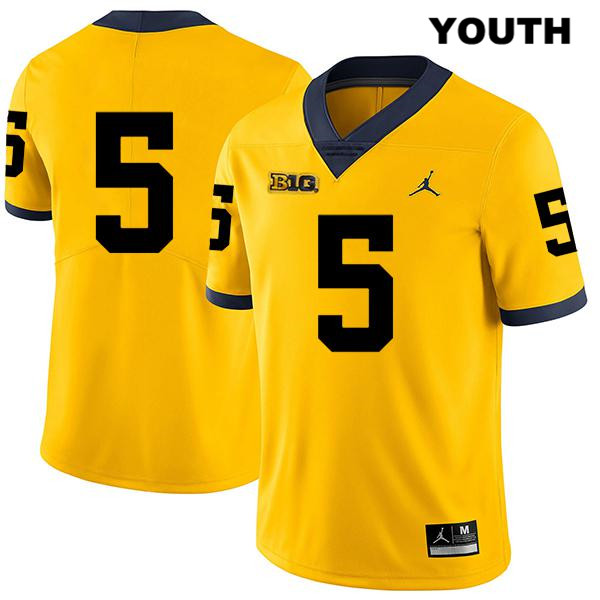 Youth no. 5 Stitched Michigan Wolverines Yellow Jordan Joe Milton Legend Authentic College Football Jersey - No Name - Joe Milton Jersey