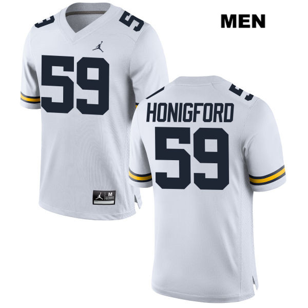 Mens Jordan no. 59 Michigan Wolverines Stitched White Joel Honigford Authentic College Football Jersey - Joel Honigford Jersey