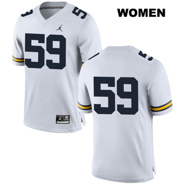 Womens no. 59 Jordan Michigan Wolverines White Stitched Joel Honigford Authentic College Football Jersey - No Name - Joel Honigford Jersey