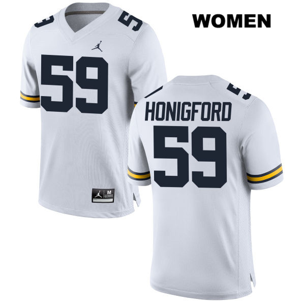Womens Jordan no. 59 Michigan Wolverines White Stitched Joel Honigford Authentic College Football Jersey - Joel Honigford Jersey