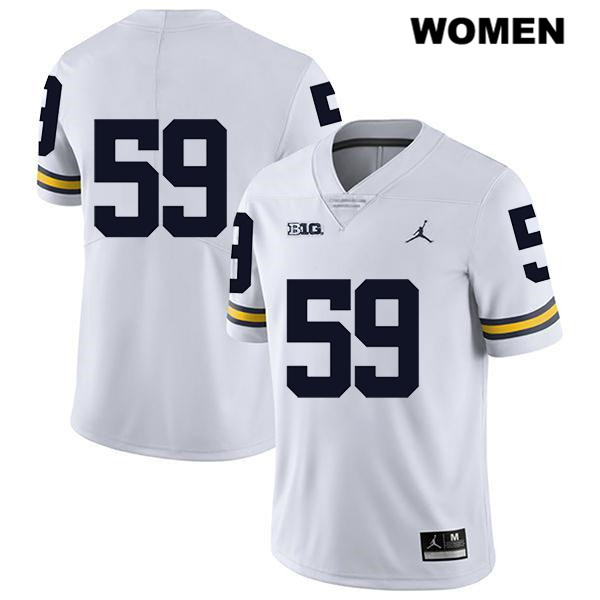 Womens Legend no. 59 Michigan Wolverines Stitched White Jordan Joel Honigford Authentic College Football Jersey - No Name - Joel Honigford Jersey