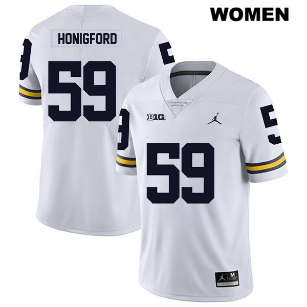Womens no. 59 Legend Michigan Wolverines Jordan White Stitched Joel Honigford Authentic College Football Jersey - Joel Honigford Jersey