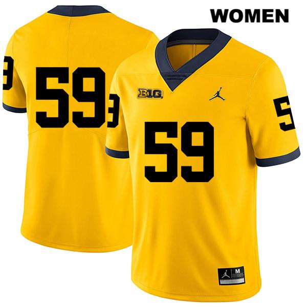 Womens no. 59 Jordan Michigan Wolverines Stitched Yellow Joel Honigford Legend Authentic College Football Jersey - No Name - Joel Honigford Jersey