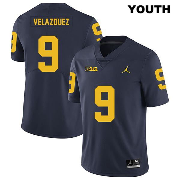 Youth Legend no. 9 Michigan Wolverines Stitched Navy Jordan Joey Velazquez Authentic College Football Jersey - Joey Velazquez Jersey