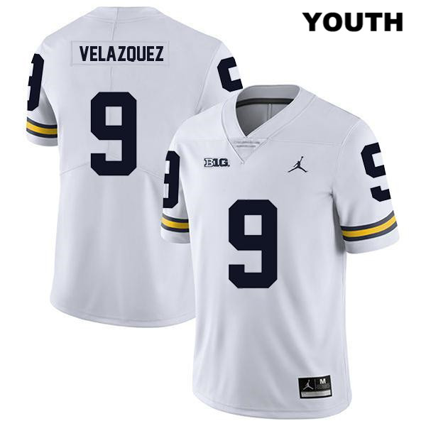 Youth no. 9 Legend Michigan Wolverines Jordan White Stitched Joey Velazquez Authentic College Football Jersey - Joey Velazquez Jersey