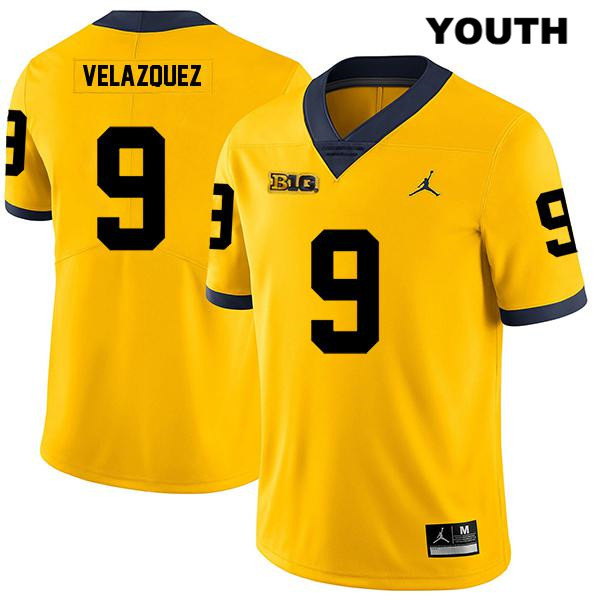 Jordan Youth no. 9 Legend Michigan Wolverines Stitched Yellow Joey Velazquez Authentic College Football Jersey - Joey Velazquez Jersey