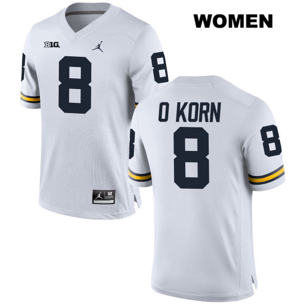 Womens no. 8 Stitched Michigan Wolverines Jordan White John O'Korn Authentic College Football Jersey - John O'Korn Jersey