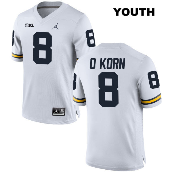 Jordan Youth Stitched no. 8 Michigan Wolverines White John O'Korn Authentic College Football Jersey - John O'Korn Jersey
