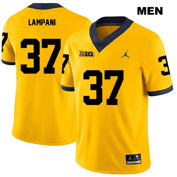Mens Legend no. 37 Stitched Michigan Wolverines Yellow Jordan Jonathan Lampani Authentic College Football Jersey - Jonathan Lampani Jersey